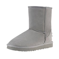 Milanao Women'S Warm Wool Classic Mid Calf Snow Boots(Gray,6.5 B(M) Us)