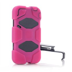 Meaci® Iphone 4/4S 4 In 1 Hot Pink Defender Body Armor With Tpu Clip Against Shocks Hard Case