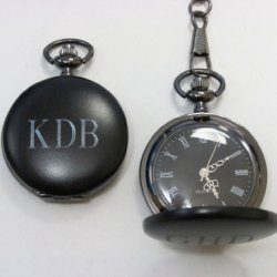 1 Personalized Engraved Gunmetal Pocket Watch Father'S Day, Valentine'S , Birthday Gift