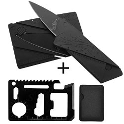 11 Function Black Tungsten Steel Credit Card Size Survival Kit Multi Tool With 1 Credit Card Size Folding Knife With Packaging