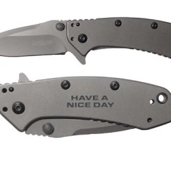Have A Nice Day Text 2L Engraved Kershaw Cryo 1555Ti Folding Speedsafe Pocket Knife By Ndz Performance