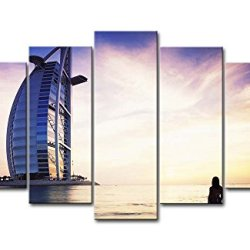 5 Panel Wall Art Painting Burj Al Arab Dubai Pictures Prints On Canvas City The Picture Decor Oil For Home Modern Decoration Print