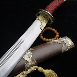 Chinese Broadsword/Folding Steel/Rosewood Scabbard/Alloy Knife Fitted/
