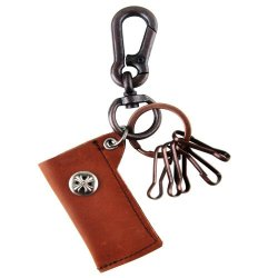 Genuine Brown Leather Knife & Lighter Holder Key Chain With Antique Brass Swivel Lobster Clasp