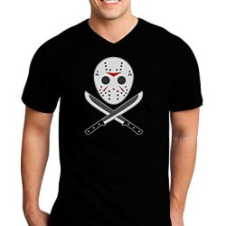 Scary Mask With Machete - Halloween Adult Dark V-Neck T-Shirt - Black - Medium