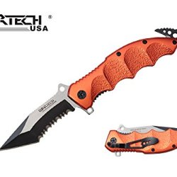 "Wartech 8"" Assisted Open Folding Tactical Pocket Knife Pink Marijuana Design Handle (Orange)"