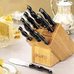 """Cutco Model 2001 Homemaker Set............10 High Carbon Stainless Knives & Forks With Classic Dark Brown (""""Black"""") Handles In Factory-Sealed Plastic Bags............#1741 Honey Oak Knife Block, #82 Sharpener, And 10"""" X 13"""" Poly Prep Cutting Board Also In"""
