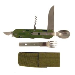 Camping Multi Tool Set Knife Spoon Cork Screw Bottle Opener Survival Gear 6 In 1