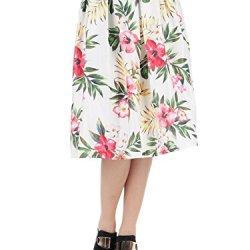 Anna-Kaci S/M Fit Multicoloured Tropical Floral Print Knife Pleat Midi Skirt