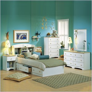 Image of South Shore Newbury Kids Twin Captain's 3 Piece Bedroom Set in White Finish (3263-PKG)