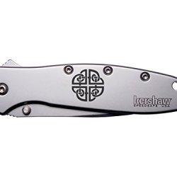 Celtic Knot Shield Engraved Kershaw Leek 1660 Ken Onion Design Folding Speedsafe Pocket Knife By Ndz Performance