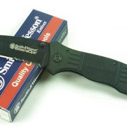 Smith & Wesson Swfr2S Extreme Ops Knife With Coated Tanto Blade And Rubber Coated Handle, Black
