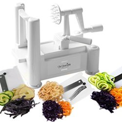 The Finest Chefs Tri-Blade Spiral Slicer! Veggie Spiralizer That Julienne, Shred & Cut! Reinforced Bpa-Free Abs Plastic! Japanese Carbon Stainless Steel Blades! Lose Weight With Fresh, Healthy Dishes! 100% Money-Back Guarantee!