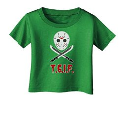 Scary Mask With Machete - Tgif Infant T-Shirt Dark Clover Green - 06Months