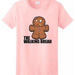 Gingerbread Zombie Ladies T-Shirt Large Light Pink
