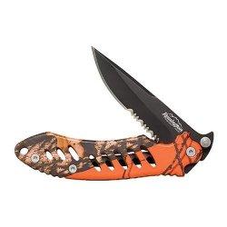F.A.S.T. 445 Stainless Steel Blade Camo Folder (Mossyoak Blaze Orange/Black, Large)