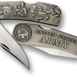 Army Lockback Knife - Large Nickel Antique