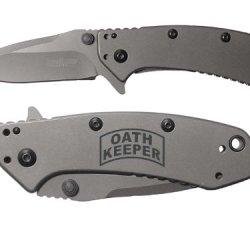 Oath Keeper Military Law Enforement Engraved Kershaw Cryo 1555Ti Folding Speedsafe Pocket Knife By Ndz Performance