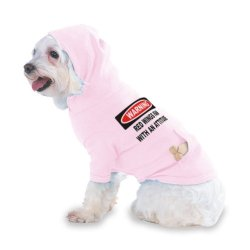 Warning: Red Wings Fan With An Attitude Hooded (Hoody) T-Shirt With Pocket For Your Dog Or Cat Medium Lt Pink