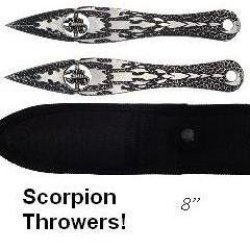 2Pc Scorpion Fantasy Throwing Knife Set Throwers Knives