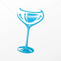 Decal Stickers Glass Of Wine Decoration Motorbike Bicycle Vehicle Atv Blue (12 X 7.06 In)