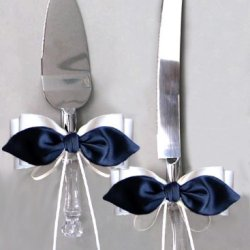 Black Satin Bow White Ribbon Cake Knife And Server Set For Wedding Or Ceremony