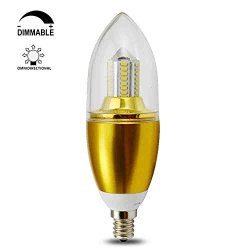 Tgm Led 6W E12 B40 Dimmable Led Chandeliers Light Bulbs Clean White 55W Incandescent Replacement 6 Polygon Pagodo Shape Blunt Tip Gold