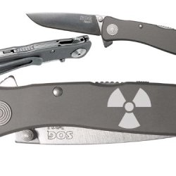Radiation Nuke Fallout Shelter Custom Engraved Sog Twitch Ii Twi-8 Assisted Folding Pocket Knife By Ndz Performance