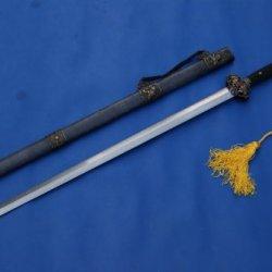 Chinese Sword Lion Sword Handmade Damascus Steel Blade Copper Tosogu Tai Ji Jian