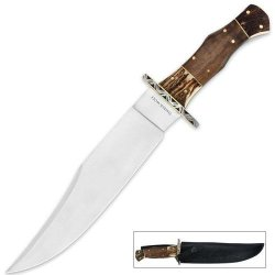 Timber Wolf Stainless Stag And Walnut Wood Bowie With Leather Sheath