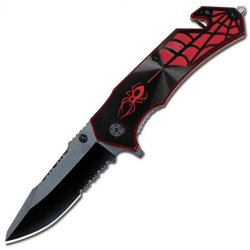 Assisted Black & Red Spider Rescue Knife