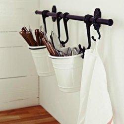 Ikea Cutlery Caddy Plant Pot Fork Spoon Pen Holder Desk Organizer Steel
