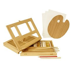 Us Art Supply® Wood Easel Box Set With 12 Colors, Canvas Panels, Brushes, Palette, Pencil & Knife (Oil Paint Kit)