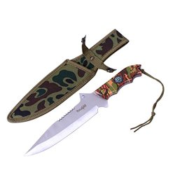 Yes4All Mh-H151 Tactical Hunting Survival Fixed Blade Knife +Nylon Sheath W/ Intergrated Compass - ²Higbz