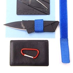 Kitsale Iain Sinclair Cardsharp 2 Authentic Credit Card Sized Folding Knife With Black Blade +4.5Cm D Links Climbing Outdoor Carabiner+Microfiber Cloth+Cover