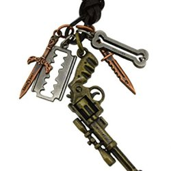 Revolver Razor Blade Knife Charm Faux Leather Necklace