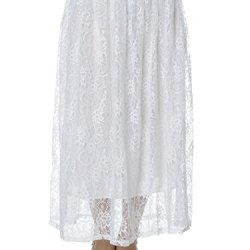 Anna-Kaci S/M Fit White Floral Sheer Lace Overlay Knife Pleat A-Line Maxi Skirt