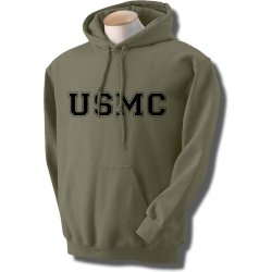Usmc Athletic Marines Hooded Sweatshirt In Military Green - X-Large