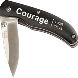 Inspirational Sharp-Edge Metal Finished Christian Pocket Knife - 2.25 Inch Blade (Courage - 1 Cor. 16:13)