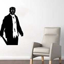 """Jason Voorhees (Friday The 13Th) With Machete Halloween Wall Decal- Black (22""""W X 35""""H)"""