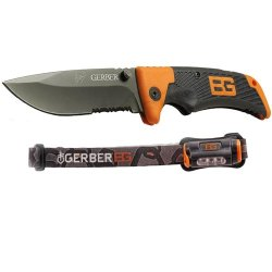 Gerber 31-002369 Bear Grylls Combo With Scout Clip Folder And Hands Free Torch