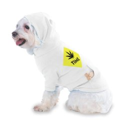 Marijuana Time Hooded (Hoody) T-Shirt With Pocket For Your Dog Or Cat Xs White
