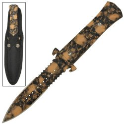 Death Apocalyptic Zombie Hunter Fixed Blade Dagger Knife-Tan With Skulls