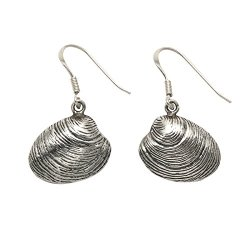Sterling Silver Quahog Shell Wire Earrings