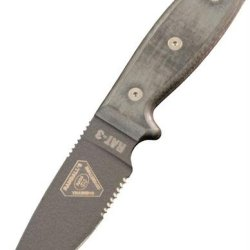 Ontario Knives 8631 Rat 3, Canvas Linen Micarta Handle, Serrated, W/Sheath