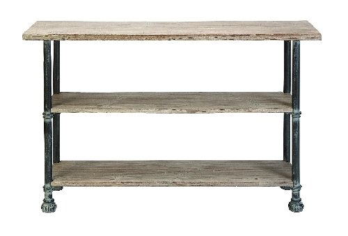 Image of Antiqued Wood and Metal Console Table (B004T1D31O)