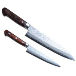 "Yoshihiro 16Layers Hammered Damascus Gyuto 8.25""& Petty 5.3"" 2Pc Set Japanese Chef'S Knife"