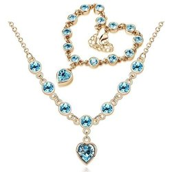 Chariot Trading - Cs184 Fashion 2014 New Heart Rhinestone Austrian Crystal Necklace Bracelets Set ( Color : Gold Sea Blue )