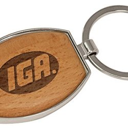 """Wooden Oval Keychain - Approx. 3 3/8"""" Silver"""