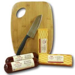 "Hickory Farms Smoked Sausage And Cheese Bundle Of 6 Items, 5"" Santoku Knife, Bamboo Cutting/Serving Board, Summer Sausage Salami, Smoked Cheddar Cheese"